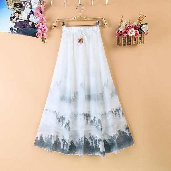 適合胯大腿粗的印花裙子女夏季中長款民族風雪紡旅游沙灘半身裙