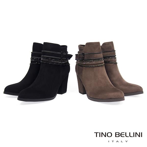 ★零碼出清★Tino Bellini視覺焦點混搭釦帶高跟短靴_駝灰 A69067 2016AW