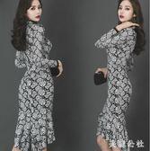 魚尾禮服 新款韓版復古時尚氣質名媛立領蕾絲禮服裙長袖魚尾連身裙OB4131『美鞋公社』