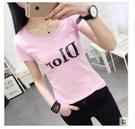 白色圓領t恤女短袖夏裝新款韓版修身顯瘦字母印花上衣緊身打底衫 (A0627)