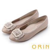 限時特賣-ORIN 輕熟甜美 織帶皺褶造型牛皮壓紋娃娃鞋-粉紅
