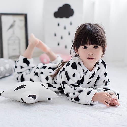 法蘭絨印花保暖連身睡袍 乳牛裝 連身睡衣
