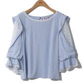 單一優惠價[H2O]剪接立體小花雪紡袖甜美針織上衣 - 白/淺藍色 #8675019