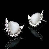耳環 925純銀 鑲鑽-愛心翅膀生日情人節禮物女飾品73hz115【時尚巴黎】