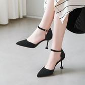 細高跟鞋高跟鞋女細跟2019春季新款尖頭黑色百搭禮儀職業網紅性感單鞋婚鞋YJ2226【雅居屋】