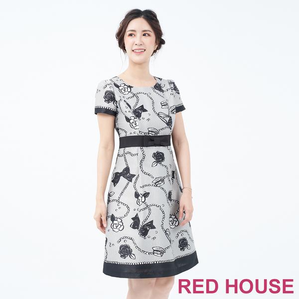 RED HOUSE-蕾赫斯-印花短袖洋裝(共兩色)