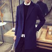 男士中長款風衣男秋冬季日韓修身型外套毛呢大衣男裝呢子衣服潮流