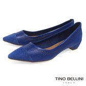 Tino Bellini 巴西進口沖孔拼接尖頭平底鞋_ 藍 B83234 歐洲進口款