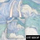 OT SHOP[現貨]側肩背 帆布包 手提袋 購物袋 托特包 絲絨布 抽象迷幻星空 插畫 簡約小清新配件 H2085