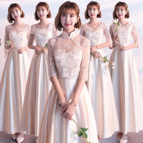 伴娘服2021新款春夏長款緞面姐妹團大合唱中學生演出晚禮服洋裝 幸福第一站