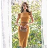 洋裝女夏新款韓版OL氣質中長款輕熟風修身無袖包臀開叉裙潮 至簡元素