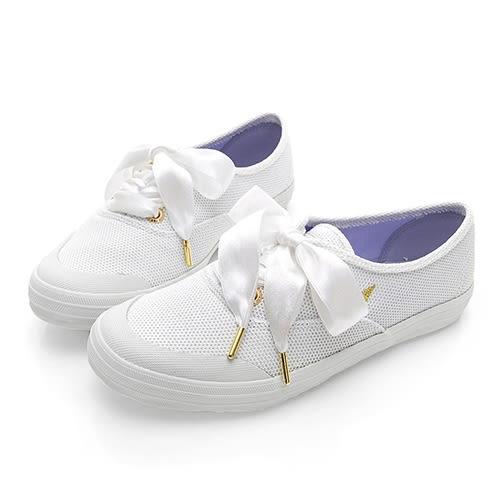 PLAYBOY 布拉格夢境 銀蔥綁帶帆布休閒鞋-白