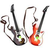 售完即止-吉他小號塑料仿真吉他四弦可彈響幼兒園舞台錶演兒童音樂器類1-25(庫存清出S)