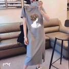 大碼連身裙 大碼短袖連衣裙遮肚洋氣減齡裙子女韓版顯瘦百搭長裙顯瘦顯高氣質 歐歐