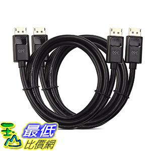 [106美國直購] 電纜線 Cable Matters 2-Pack, Gold Plated DisplayPort to DisplayPort Cable 6 Feet 4K