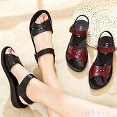 媽媽涼鞋女平底舒適軟底防滑老年人奶奶鞋中老年女鞋 小確幸生活館