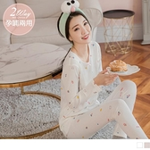 《MA0369》孕哺兩用~可愛印花坑條成套哺乳睡衣/孕婦睡衣/月子服--適 S~2L OrangeBear