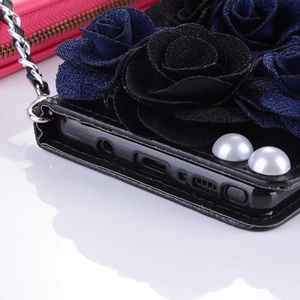 送吊飾 三星 Note5 Note4 黑玫瑰系列 皮套 碎花 韓系 手機殼 插卡 軟殼 保護套