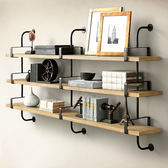 實木牆上書架鐵藝壁掛架牆面牆壁置物架客廳臥室一字隔板架層板架【免運 出貨】