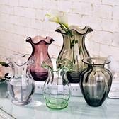 歐式迷你小浮雕玻璃花瓶彩色 透明手工花器創意水培台面花花容器