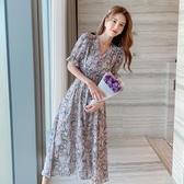 依二衣 洋裝 夏小雛菊連身裙復古油畫v領仙氣減齡短袖碎花連身裙