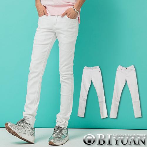 彈性牛仔褲【OBIYUAN】韓版長褲 簡約純白 彈力 小直筒 休閒褲【P1599】