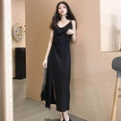 女裝款黑色打底開叉吊帶背心連身洋裝長款長洋裝子女內搭   蘑菇街小屋