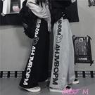 運動褲灰色運動衛褲女韓版復古暗黑系直筒嘻哈闊腿褲ins潮情侶休閒長褲 JUST M
