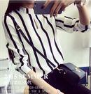 EASON SHOP(GU0161)黑白條紋撞色立領長袖襯衫秋裝新款大碼女裝雪紡女上衣韓潮女內搭衫白襯衫中山領