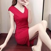 無袖洋裝春夏女裝無袖小黑裙洋氣2021V領職業裙修身顯瘦包臀ins連身裙