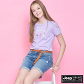 【JEEP】女裝 彩繪印花短袖TEE-薰衣草紫