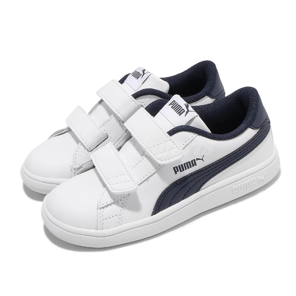 Puma 童鞋 Smash v2 L V Inf 白 深藍 魔鬼氈 小童鞋 休閒鞋 【ACS】 36517404