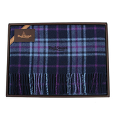PAUL STUART經典蘇格蘭格紋羊毛披肩禮盒(藍色)989907-1