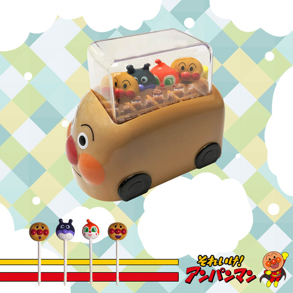 麵包超人 Anpanman 食物叉附麵包車 收納盒 附4支造型叉 麵包叉 便當叉 日本進口正版 036685