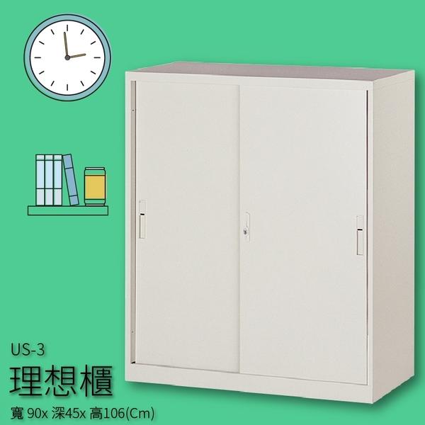 【收納嚴選品牌】US-3 理想櫃 鋼製拉門活動三層式  文件櫃 收納櫃 分類櫃 報表櫃 隔間櫃 置物櫃