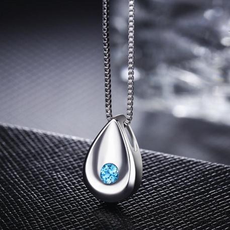 水滴型藍鑽白鑽吊墜S925純銀項鏈100ta11【Brag Na義式精品】