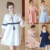 孕婦洋裝春夏裝上衣裙子中長款短袖夏季新款寬鬆雪紡孕婦裙color shop