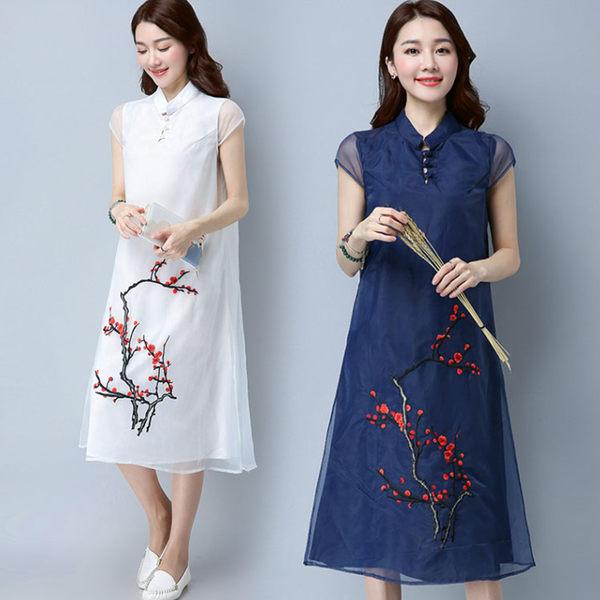 【名模衣櫃】型-復古典雅梅花刺繡連衣裙-共2色-(M-2XL可選)  51267