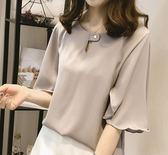 EASON SHOP(GU3355)圓領短袖喇叭袖襯衫女上衣白色雪紡衫荷葉邊秋裝韓閨蜜裝大碼寬鬆顯瘦上班服OL