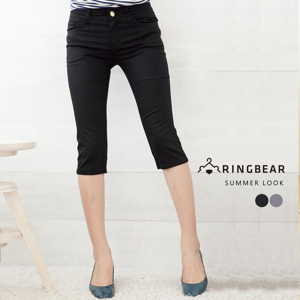 七分褲--極緻完美線條西裝褲版型素面中腰七分褲(黑.灰M-6L)-S28眼圈熊中大尺碼★