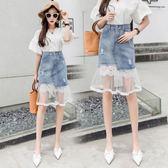 女夏2018新款不規則半身裙夏季中長款牛仔紗裙魚尾網紗牛仔裙 GB4054『MG大尺碼』