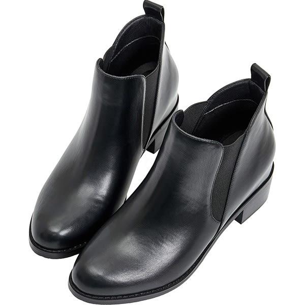 AIR SPACE 側鬆緊拼接內增高短靴(黑)