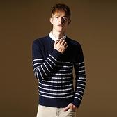 長袖針織衫-經典休閒條紋設計男針織毛衣2色73ik17【時尚巴黎】