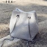 夏天小包包女2018新款韓版水桶包閃鉆斜背百搭錬條手提網紅單肩包