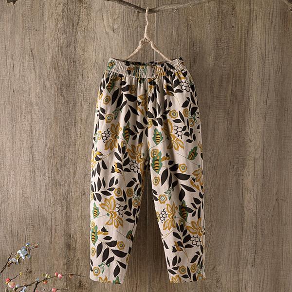 棉麻印花褲女寬鬆夏季薄款褲子女韓版大碼休閒褲九分哈倫褲蘿蔔褲