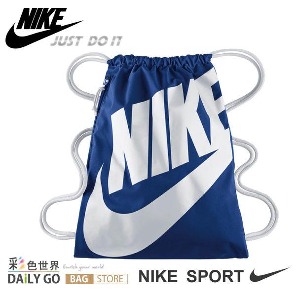 NIKE束口袋運動背包耐吉BA5128-411藍