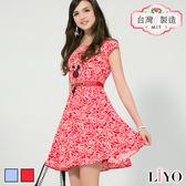 LIYO理優MIT玫瑰印花收腰洋裝626012
