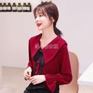 本命年紅色娃娃領上衣女2020流行時尚雪紡襯衫洋氣質秋裝新款小衫 快速出貨