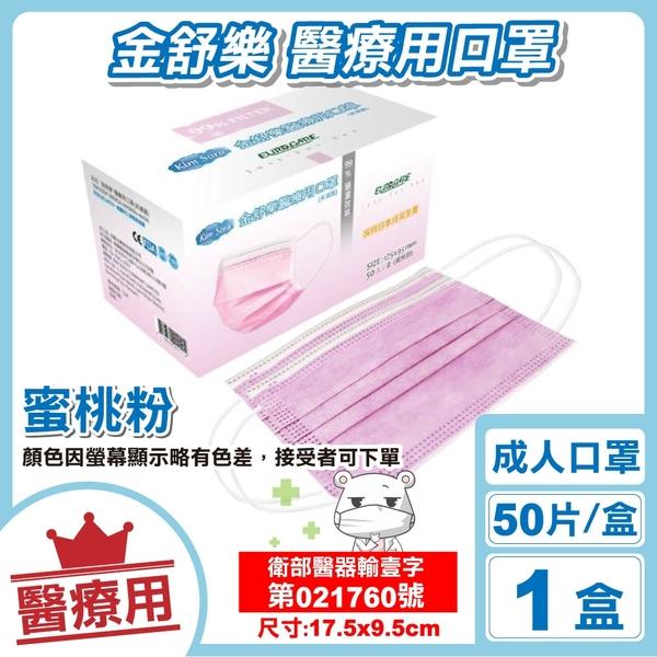金舒樂 成人醫療口罩 (蜜桃粉) 50入/盒 (CNS14774) 專品藥局【2018593】