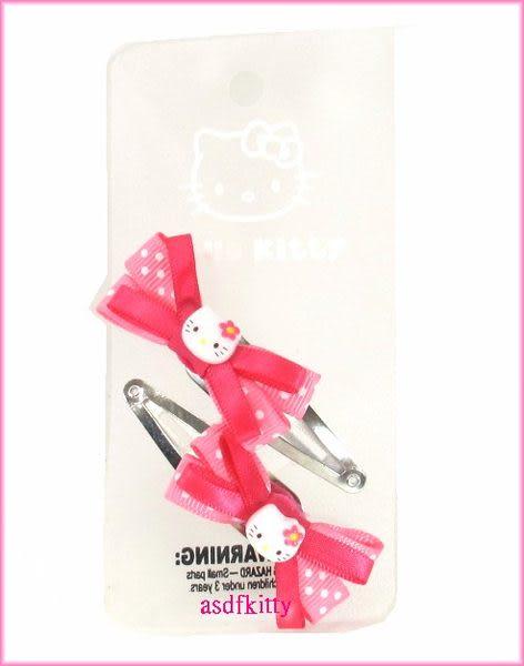 個人 嬰童用品【asdfkitty可愛家】KITTY粉水玉蝴蝶結髮夾-歐美版正版商品
